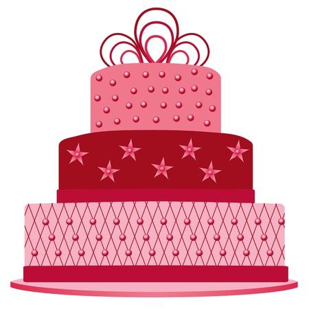 ピンクのケーキ  イラスト・ベクター素材