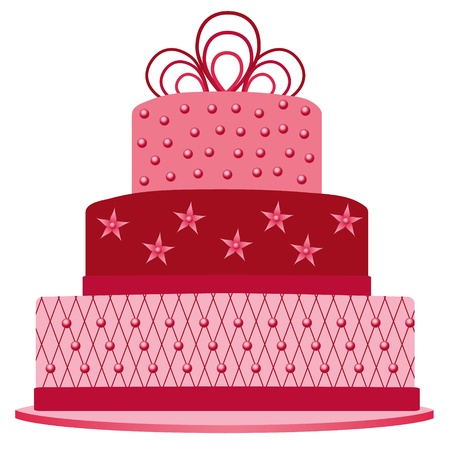 torta panna: torta di rosa Vettoriali