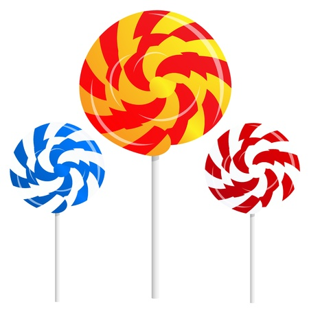 round shape lollipops on white background Illustration