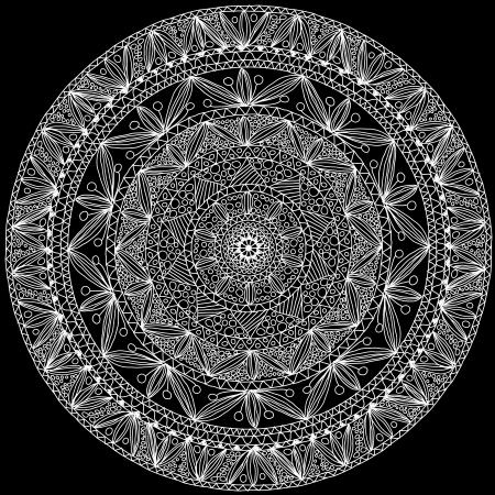 white napkin: Hand-made ornamental round lace  Illustration