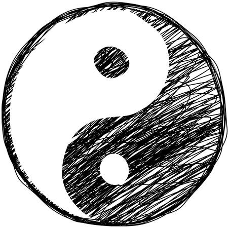 Doodle yin-yang symbool Stock Illustratie