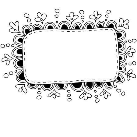 hand made: Hecho a mano marco del doodle Vectores