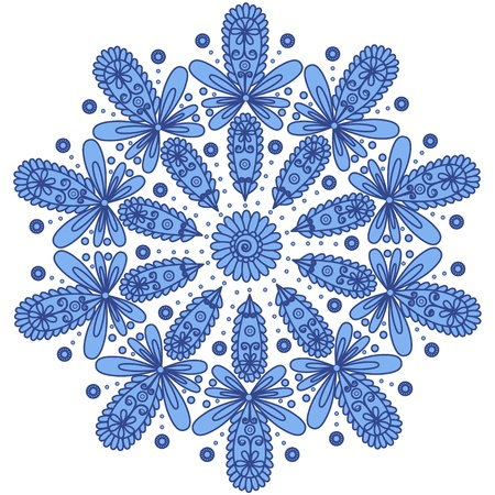 Blue ornamental round lace Vector