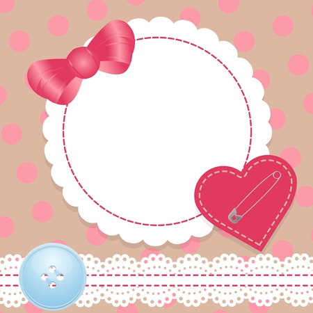 sew tags: Birthday card with heart,lace and bow  Contains a gradient mesh