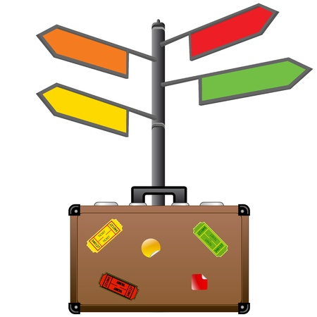 Street sign and travel suitcase  Tourism concept
