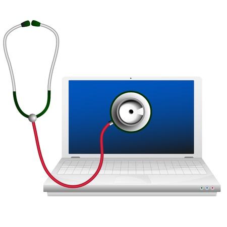 computer support: Computer portatile e stetoscopio Computer concetto di riparazione Vettoriali