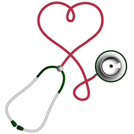 st�toscope: En forme de coeur cardiologie St�thoscope notion Illustration