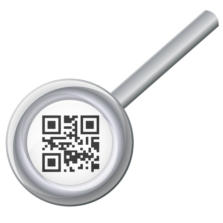 qr code under magnifying glass Stock Vector - 18115796