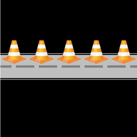Background with traffic cones on road Stock Vector - 20243241