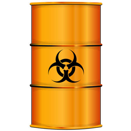 barrel radioactive waste: Orange barrel with bioi hazard sign
