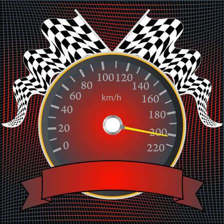 speedometer: Tachimetro con bandiere a scacchi e banner Vettoriali