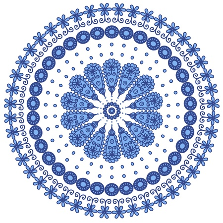 Blue round lace Stock Vector - 20923085