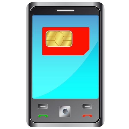 smartcard: Mobile phone with red sim card Illustration