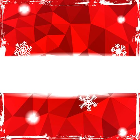 Red triangle grunge christmas background with banner and snowflakes Illustration