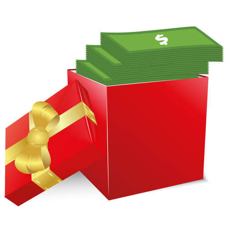 Concept of bonus. Red box with gold bow full of money. Vector