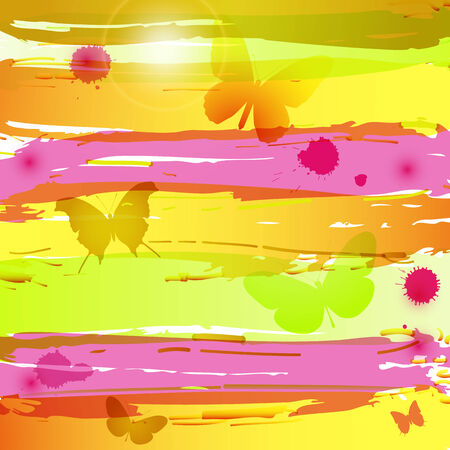 Watercolor background with butterflies, blots and flares Vector