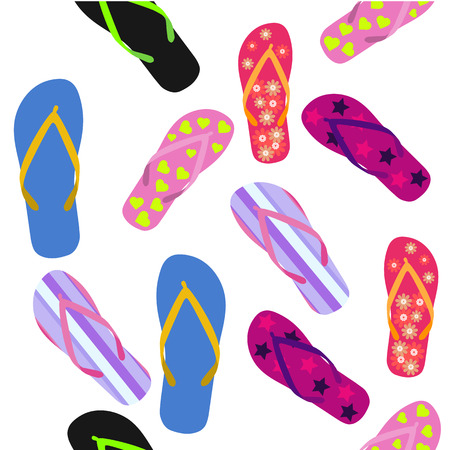 Seamless pattern with flip flops. Summer. Vector