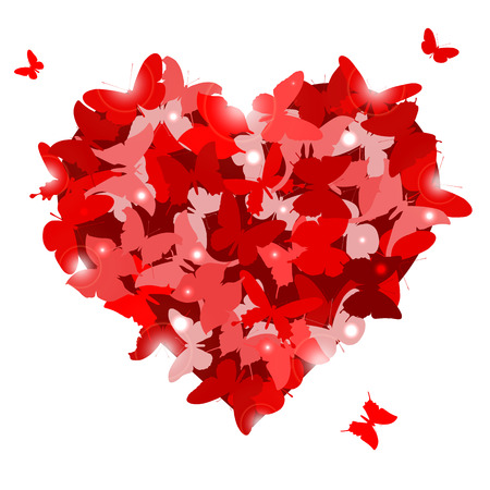 Red heart with butterflies for Valentines day. Love concept. Vector