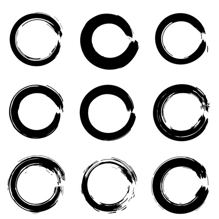 Set of ink circles. Vector