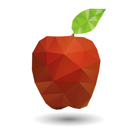 Red apple in geometric origami style Illustration