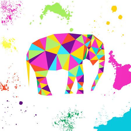 Elephant in geometric origami style Vector