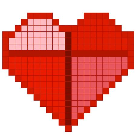 Red pixel heart Illustration
