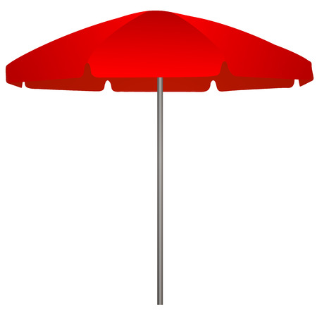 Illustration of red beach umbrella on white background  Vector