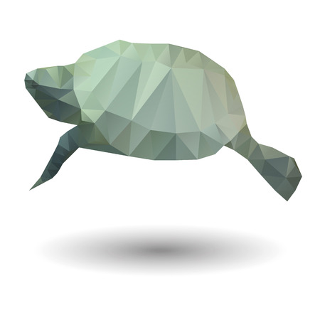 Abstract illustration of sea turtle in origami style on white background Vector