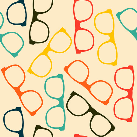 eye wear: Seamless pattern with glasses in flat style.
