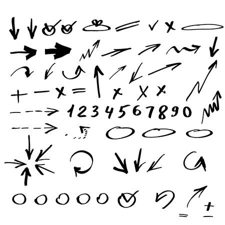 Set of hand drawn arrows Vectores