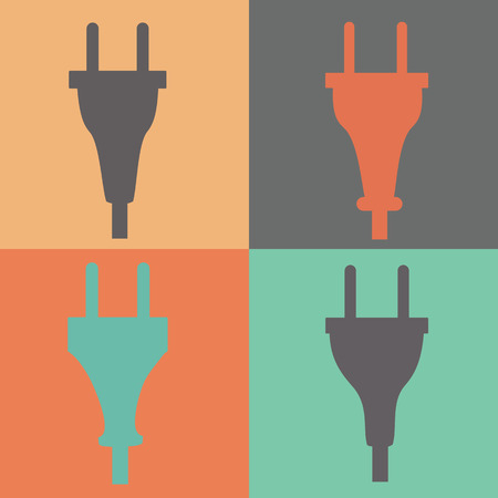 electric current: Set of electric plug sign icon. Power energy symbol. Flat style.