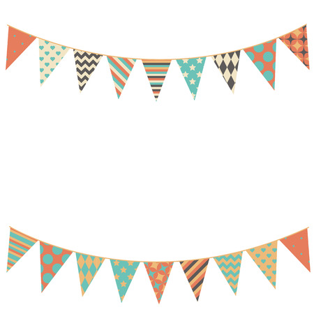 Party bunting background in flat style.