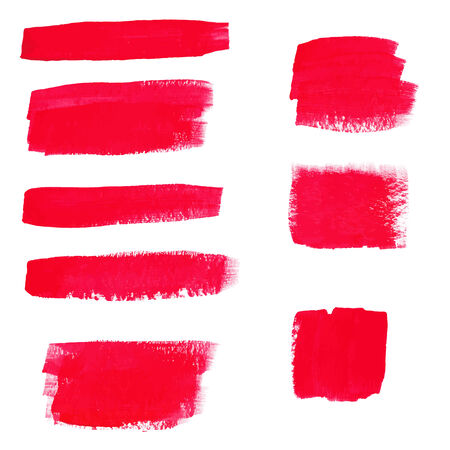 Hand-drawing red textures of brush strokes in random shape Vector