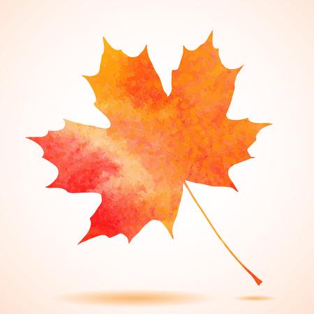 Orange watercolor painted autumn maple leaf background