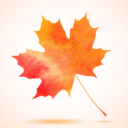 Orange watercolor painted autumn maple leaf background