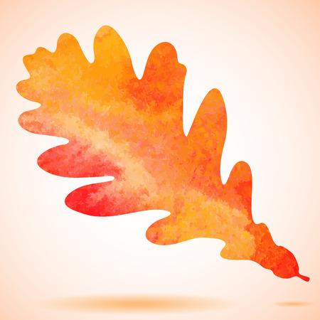 Orange watercolor painted autumn oak leaf background