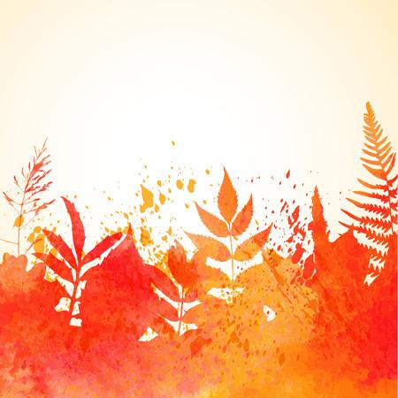 Orange watercolor painted autumn foliage background Ilustração