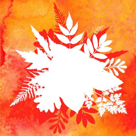 Orange watercolor painted vector autumn foliage background Vector
