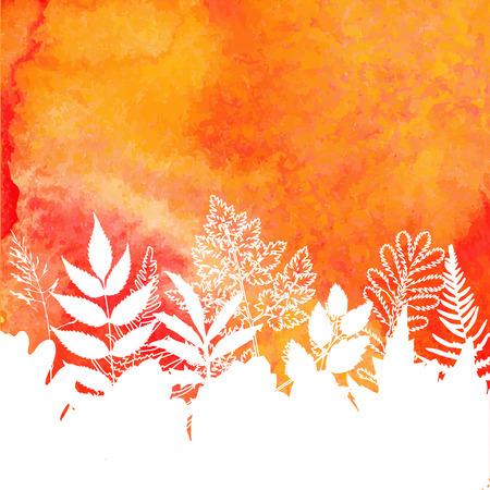Orange watercolor painted autumn foliage background Vector