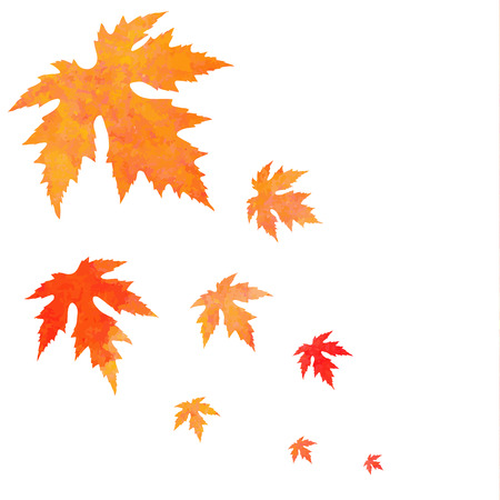 Watercolor painted orange vector leaves fall
