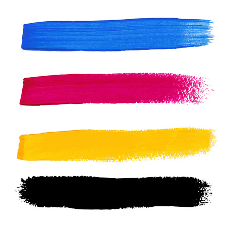 CMYK colors vector acrylic stains Vector