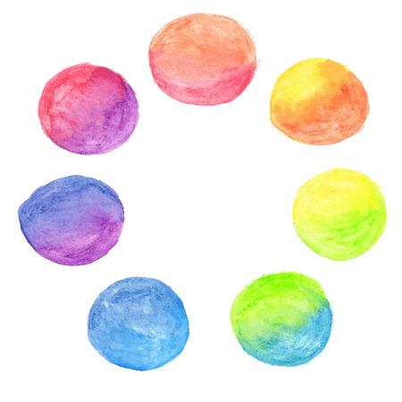 Vector set of rainbow watercolor circles