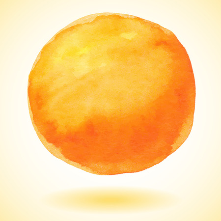 Orange watercolor paint vector circle Illustration