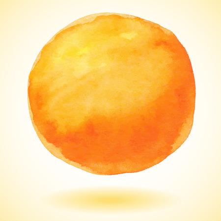 Orange watercolor paint vector circle Ilustração