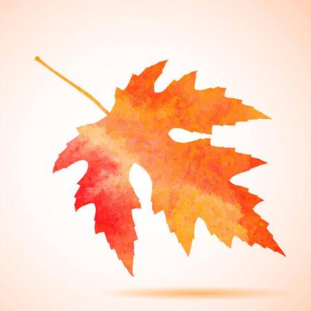 Acuarela naranja hoja de arce Ilustración de vector