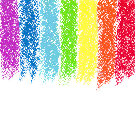 oil pastels: Pastel crayon painted rainbow, vector image