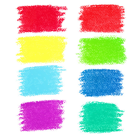 Set of pastel crayon spots, isolated on white background Vector