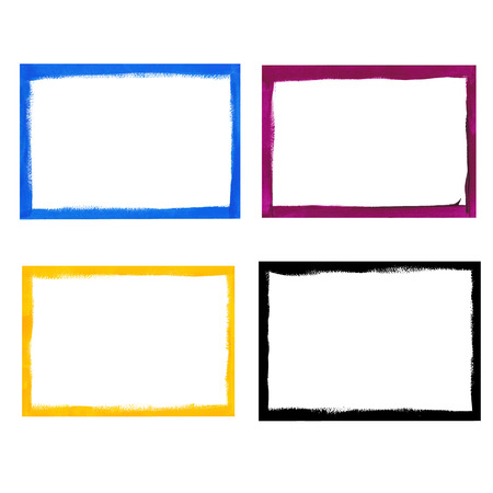 CMYK grunge frame set