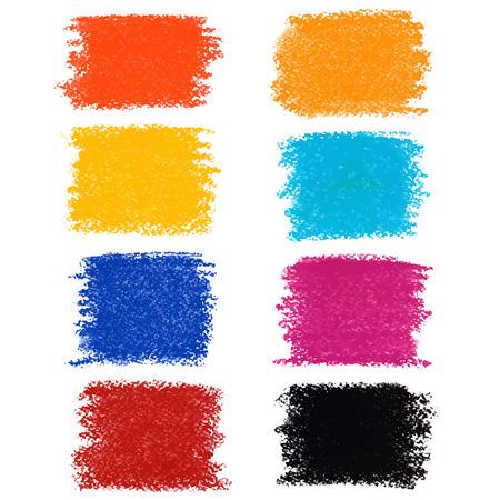 Set Pastellkreide Flecken, isoliert auf weißem Hintergrund Illustration
