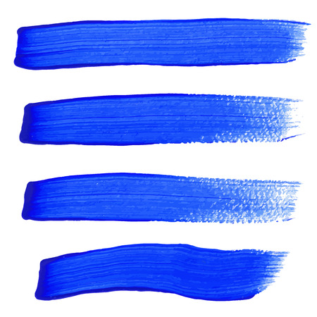 grunge brush: Blue ink vector brush strokes